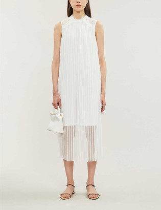 Claudie Pierlot Tikah sheer ruffled-trim tulle midi dress