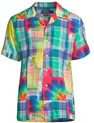 Polo Ralph Lauren Short-Sleeve Madras Tie-Dye Sport Shirt