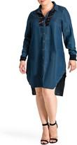 Standards & Practices Felicity Lace Trim Tencel Shirt Dress (Plus Size)