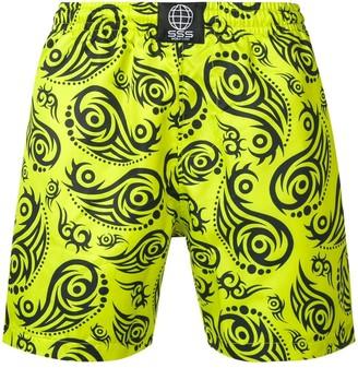 SSS World Corp Tribal Print Swim Shorts