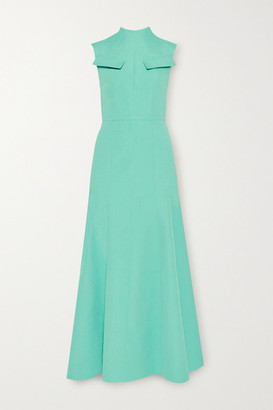 Emilia Wickstead Iago Cutout Pleated Cloque Maxi Dress - Turquoise