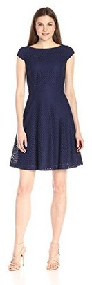 Lark & Ro Amazon Brand Women's Cap Sleeve Eyelet Fit and Flare Dress