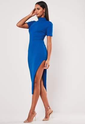 Missguided Blue Rib Roll Neck Side Split Midi Dress