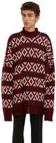 Raf Simons Men's Oversized Jacquard Sweater In Burgundy
