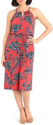 London Times Tropical Print Crop Jumpsuit