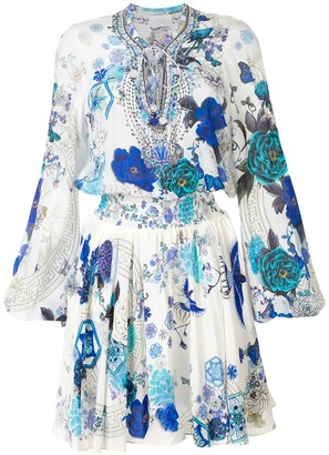 Camilla White Moon Shirred printed dress