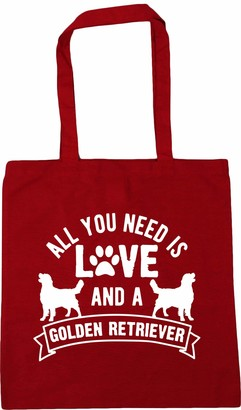 Hippowarehouse All you need is love and a Golden Retriever Tote Shopping Gym Beach Bag 42cm x38cm 10 litres