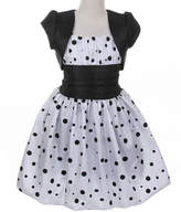 Couture Cinderella Girls' Special Occasion Dresses white/black - White Cummerbund Bubble Dress & Shrug - Toddler & Girls