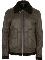 River Island Mens Khaki faux suede aviator jacket