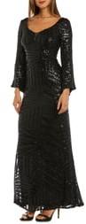 Morgan & Co. Sequin Bell Sleeve Evening Dress