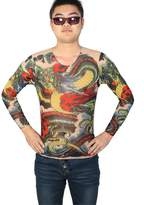 uxcell® Men Round Neck Semi Sheer Tight Tattoo T-Shirt Red Green S
