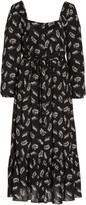 Thumbnail for your product : HVN Women's Eva Printed Crepe Button-Front Midi Dress - Black - Moda Operandi