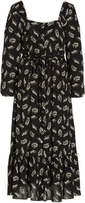 HVN Women's Eva Printed Crepe Button-Front Midi Dress - Black - Moda Operandi