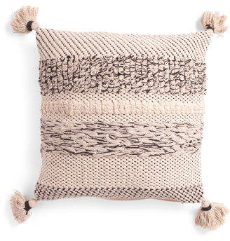 18x18 Made In India Crissy Natural Textured Pillow