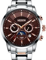 NESUN Men's Business Mechnicial Self Wind Calendar Analog Classic Full Stainless Steel Wrist Watches Sports