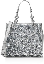 MICHAEL Michael Kors Flora Small Burst Metallic North/South Satchel