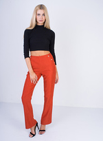 Missy Empire Mika Rust High Waisted Flared Trousers