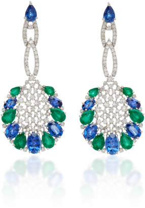 Sutra Sapphire And Emerald Drop Earrings