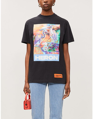 Heron Preston Heron-print cotton-jersey T-shirt