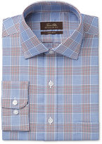 Tasso Elba Men's Classic/Regular Fit Burgundy Blue Glenplaid Dress Shirt, Only at Macy's