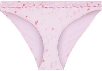 Ganni Pleated Floral-print Low-rise Bikini Briefs