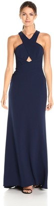 BCBGMAXAZRIA Azria Women's Salome Cross Over Halter Woven Evening Dress
