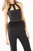 BCBGMAXAZRIA Stone Column Ostrich Feather Belt