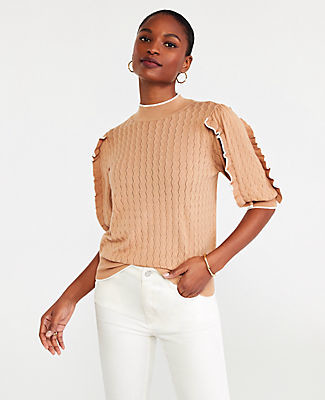 Ann Taylor Pointelle Tipped Ruffle Elbow Sleeve Sweater