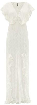 Rat & Boa - Ruffled Metallic Fil Coupe Maxi Dress - Ivory