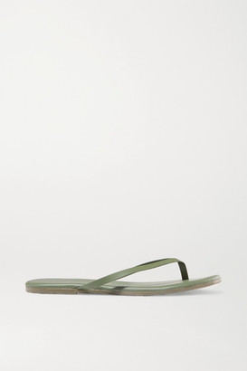 TKEES Solids Leather Flip Flops - Army green
