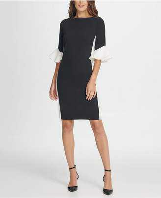 DKNY Colorblock Bell Sleeve Sheath Dress
