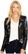 Blank NYC Black Vegan Leather Moto Graphic Studded Jacket in Teen Dream Women's Coat
