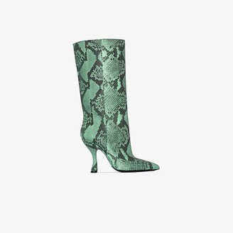 Dries Van Noten green 100 Snake print leather Boots