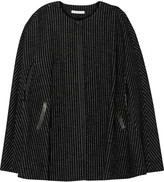 Alice + Olivia Kingsley leather-trimmed wool and cotton-blend cape