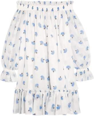 Alexander McQueen Off-the-shoulder Floral-print Cotton-voile Mini Dress