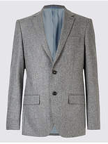 M&s Collection Luxury Pure Wool Harringbone Jacket