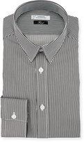 Versace Striped Cotton Dress Shirt, White/Gray