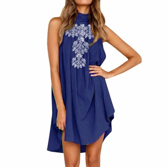 Ulanda Eu Womens Dresses Ulanda-EU Womens Cotton and Linen Summer Dresses Ladies Sleeveless Turtle Neck Irregular Dress Beach Holiday Party Boho Mini Dress Navy