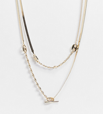 ASOS DESIGN Curve multirow necklace with herringbone and tab link chain in gold tone