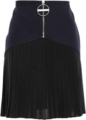 Givenchy Pleated Chiffon-paneled Wool Mini Skirt