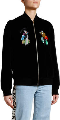 Stella McCartney Yellow Submarine Velvet Bomber Jacket with Beatles Decals