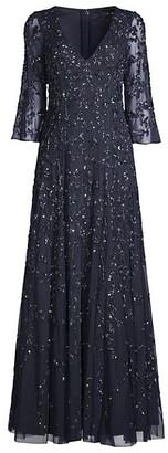 Aidan Mattox Floral Beaded V-Neck Gown