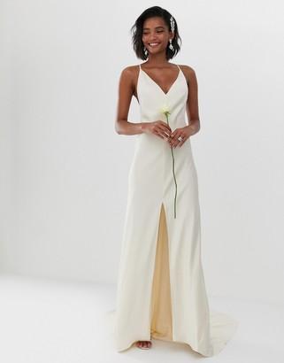 Asos Edition EDITION cami split front wedding dress-White