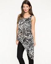 Le Château Zebra Print Crêpe de Chine Asymmetrical Tunic