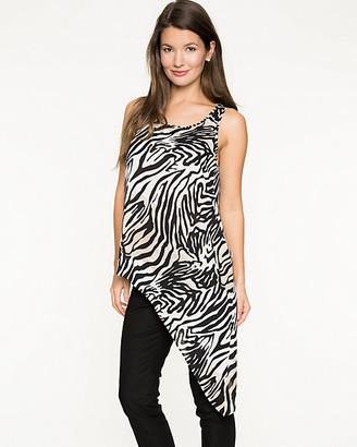Le Château Zebra Print Crepe de Chine Asymmetrical Tunic