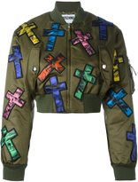 Moschino cross patch cropped bomber jacket