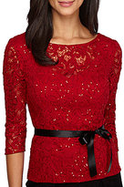 Alex Evenings Illusion Neck Sequin Lace 3/4 Sleeve Top