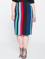 ELOQUII Plus Size Striped Knit Pencil Skirt
