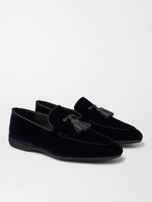 Paul Stuart Grosgrain And Leather-Trimmed Velvet Tasselled Slippers