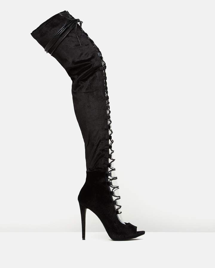 Missguided Lace-Up Peep-Toe Thigh-Highs